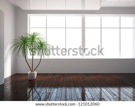 white empty interior with window - stock photo