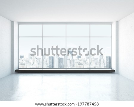 White empty interior with window. - stock photo
