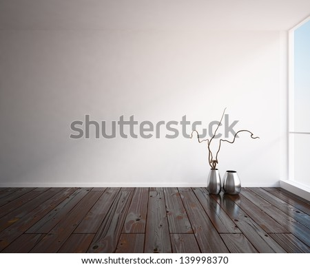 white empty interior with wooden floor - stock photo