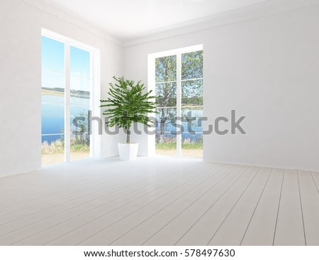 Marvelous White Empty Living Room Interior With Sofa And Green Landscape In Window.  Scandinavian Interior Design