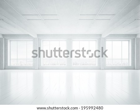 White empty loft interior - stock photo