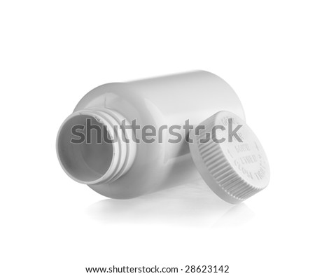 White empty medicine bottle lay down with the cap at side
