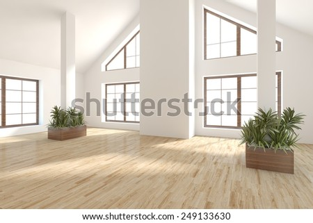 white empty modern interior with panoramic windows-3D rendering - stock photo