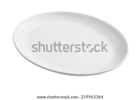 white empty oval plate isolated - stock photo