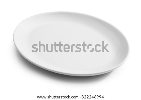 white empty plate isolated on white   - stock photo