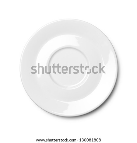 White empty plate isolated on white background. Clipping path included - stock photo
