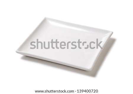 White empty plate of earthenware - stock photo