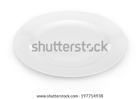 white empty plate over a white background - stock photo