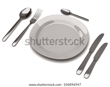 White empty plate with fork, spoon and knife