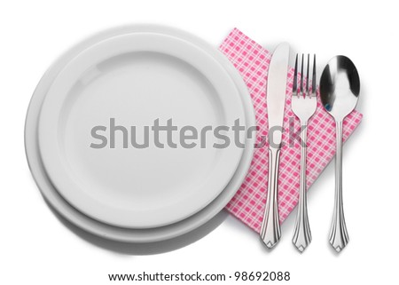 White empty plate with fork, spoon and knife isolated on white - stock photo