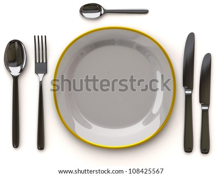 White empty plate with fork, spoon and knife on white