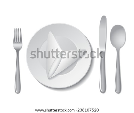 White empty plate with napkin, fork, spoon and knife on a white background.