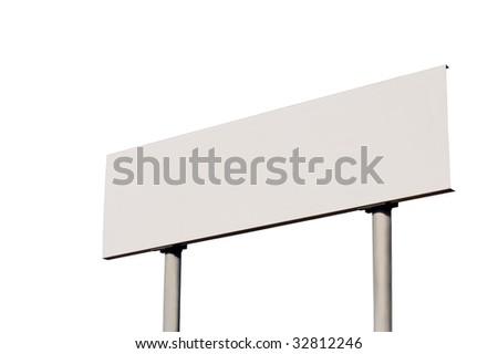 White Empty Road Name Sign, Isolated, Large Detailed Roadside Signage, Blank Copy Space Background - stock photo