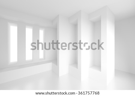 White Empty Room. 3d Architecture Background - stock photo