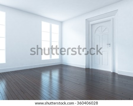 white empty room. 3d concept interior - stock photo