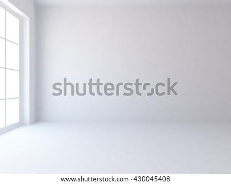 White empty room. Living room interior. Scandinavian interior. 3d illustration - stock photo