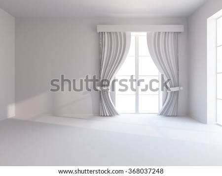 white empty room with curtains. 3d illustration - stock photo