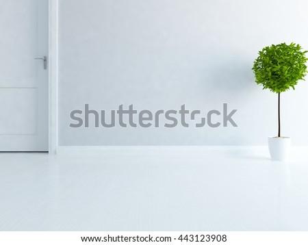 White empty room with door. Living room interior. Scandinavian interior. 3d illustration - stock photo