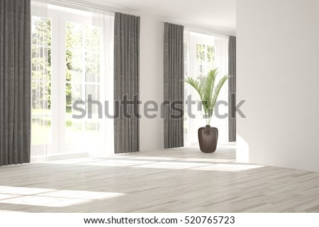White Empty Room With Green Landscape In Window Scandinavian Interior Design 3D Illustration
