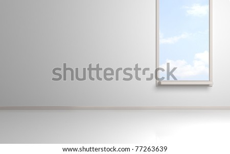 White empty room with opened window and blue cloudy sky behind.3d rendered. - stock photo