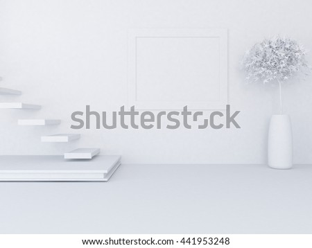 White empty room with stairs. Living room interior. Scandinavian interior. 3d illustration - stock photo