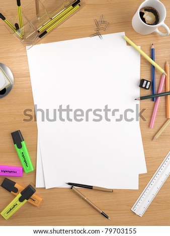 white empty sheet with lots of stationery objects makes a great copy space for you message or drawing - stock photo