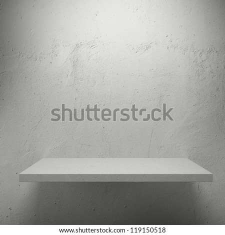 White empty shelf for exhibit - stock photo