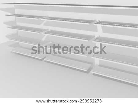 White empty shelves for goods and products in the store