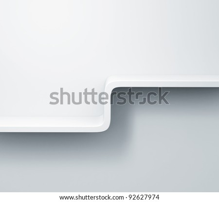 White empty shelves on the wall 3d model - stock photo