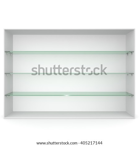White empty showcase with glass shelves green. 3D rendering - stock photo