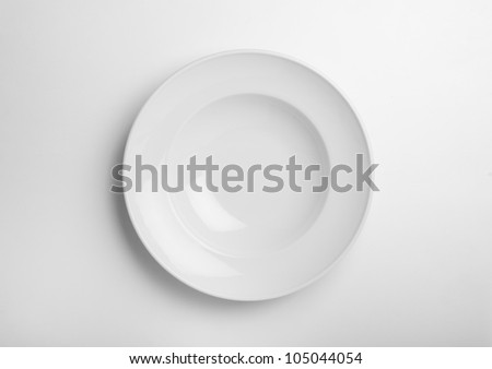 white empty soup plate on background white