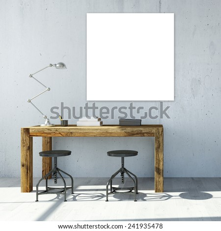 White empty square canavas hanging on wall in office (3D Rendering) - stock photo