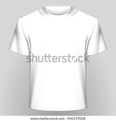 White empty t-shirt on gray background. Easy template to insert any of your image. Contains Clipping Path - stock photo