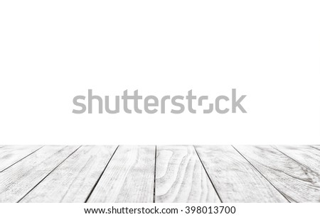 White empty wooden table isolated on a white background  - stock photo