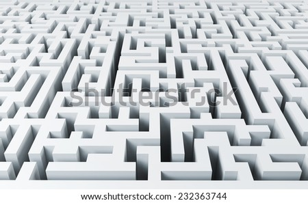 White endless labyrinth - stock photo
