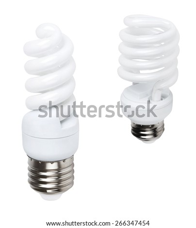 white energy saving bulbs - stock photo