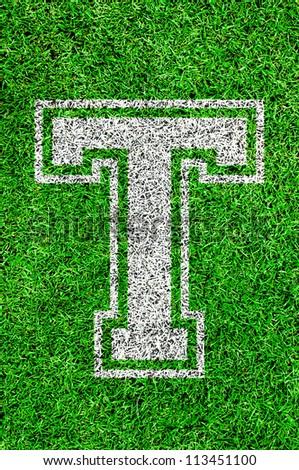 White english alphabet T on green grass - stock photo