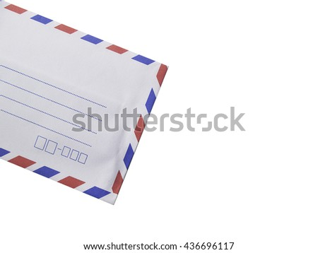 white envelope isolated on white background,white red and blue envelope