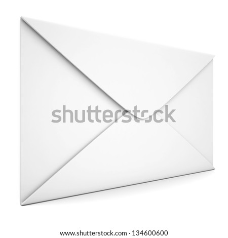 White envelope. Isolated render on a white background
