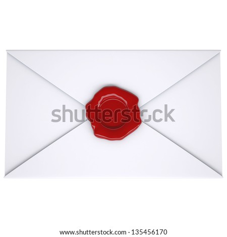 White envelope with a red seal. Isolated render on a white background