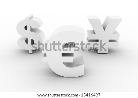 White Euro Dollar Yen currencies