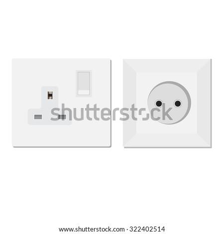 White european and uk socket raster illustration. Electric socket. Electricity symbols - stock photo