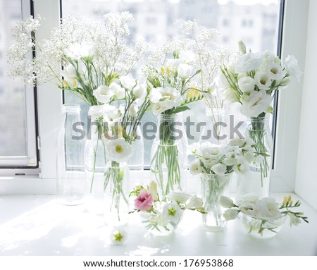white eustoma and freesia - stock photo