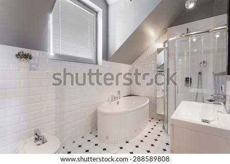 White exclusive decor of washroom in new house - stock photo