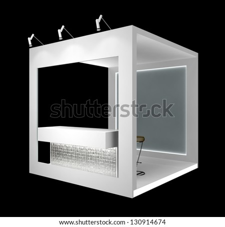 white exhibition module with counter, isolated on black - stock photo