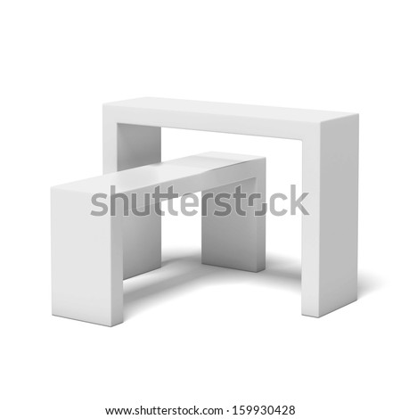 White exhibition stand - stock photo