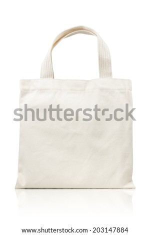white fabric bag isolated on white background. Include clipping path. - stock photo
