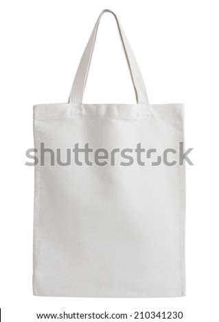 white fabric bag isolated on white background with clipping path - stock photo
