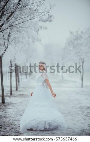 White Fairytale Princess Frozen World Vintage Stock Photo (Royalty ...
