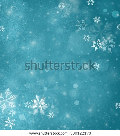 white falling snow on teal blue background, Merry Christmas or winter background design with falling snowflakes in blue sky - stock photo